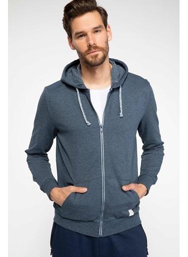 DeFacto Basic Kapşonlu Sweatshirt Hırka Lacivert